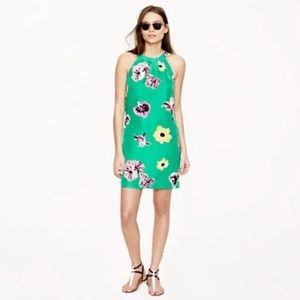 J. Crew Green Floral short Dress 100% Silk